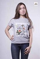 Молодежная женская футболка серая трикотажная 42-50