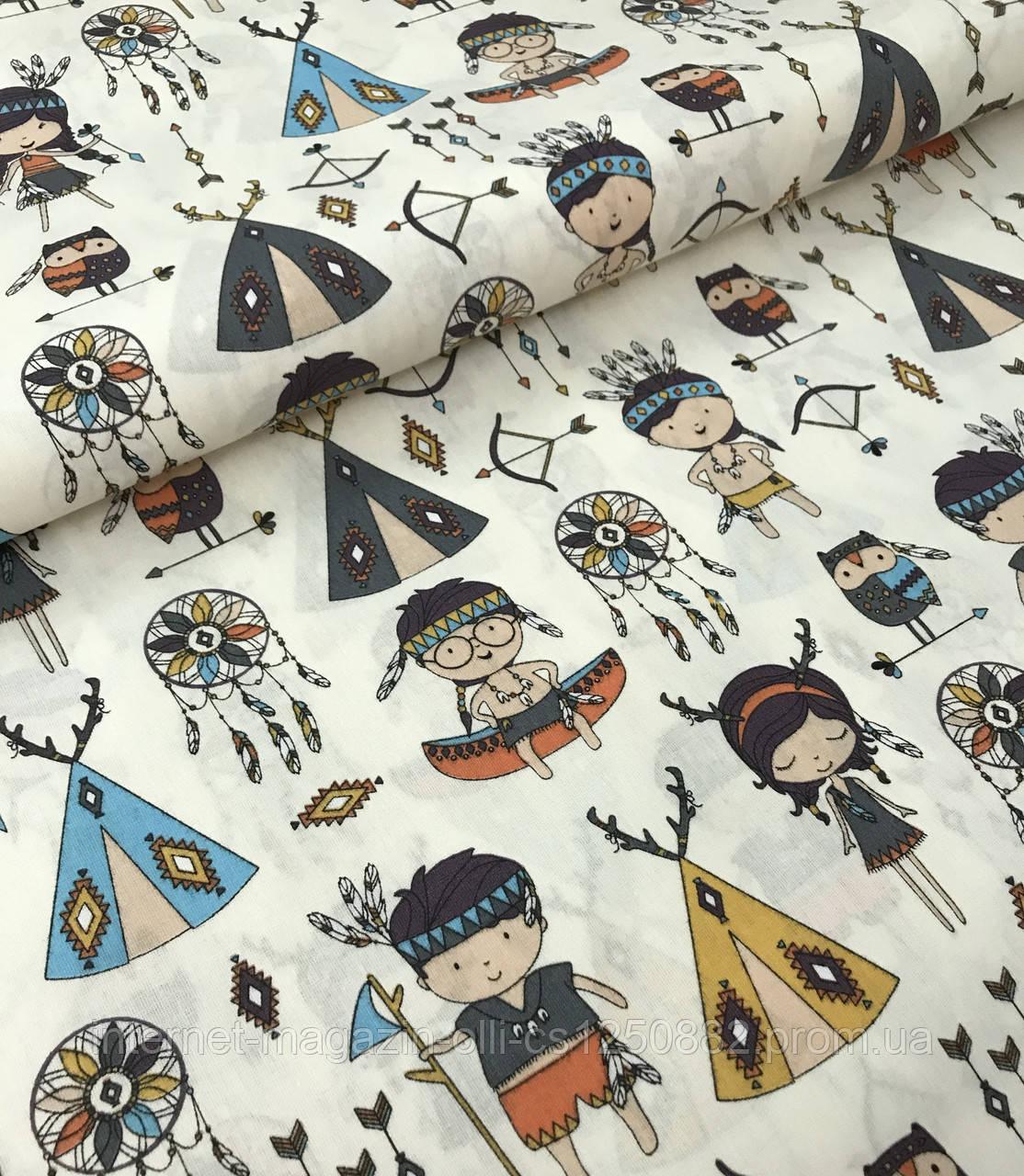 Хлопковая ткань польская с маленькими индейцами на кремовом №465
