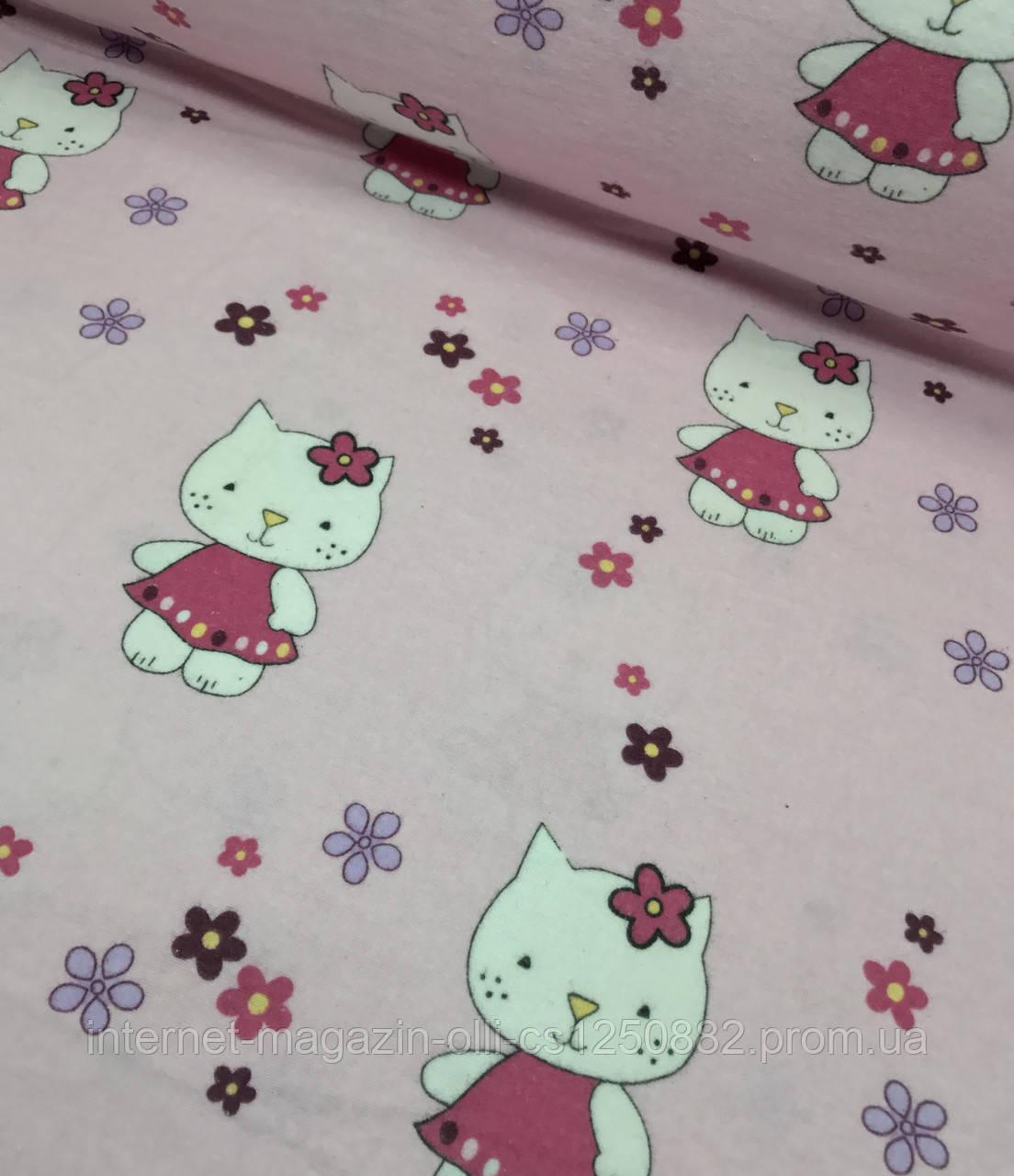 Фланель детская Hello Kitty на розовом №415