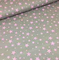 Хлопковая ткань польская звезды розовые большие и маленькие на сером №380, фото 1