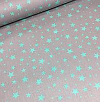 Хлопковая ткань польская звезды мятные большие и маленькие на сером №379, фото 1