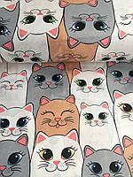 Хлопковая ткань польская коты белые, серые, бежевые №366