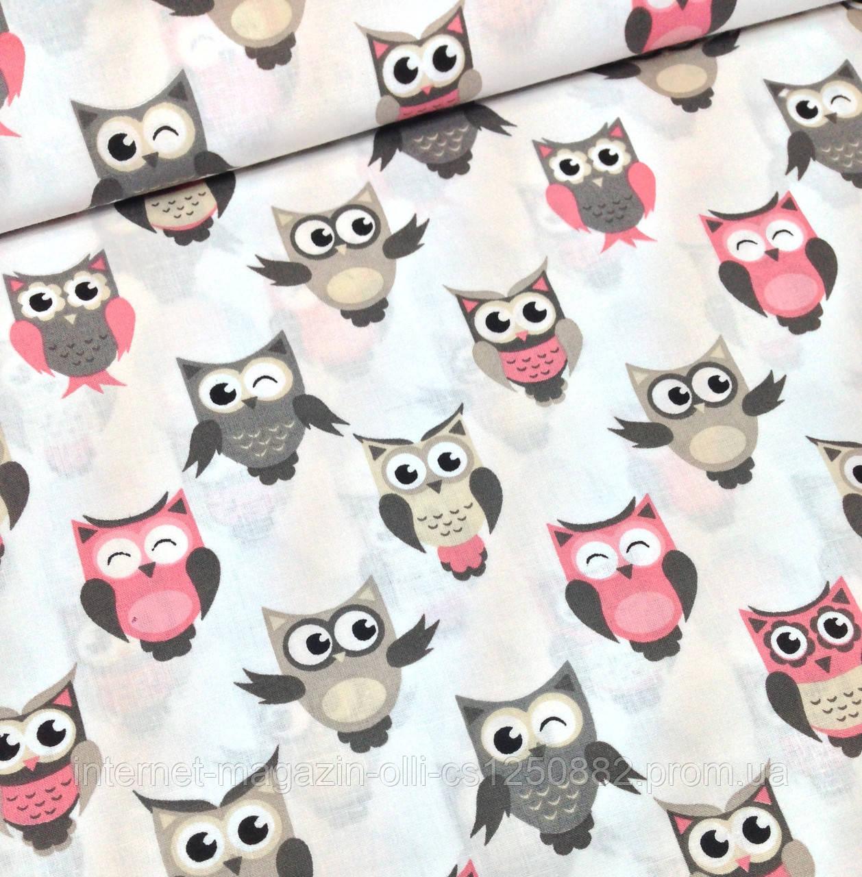 Хлопковая ткань польская совы серо-розовые на белом №352