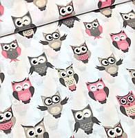 Хлопковая ткань польская совы серо-розовые на белом №352, фото 1