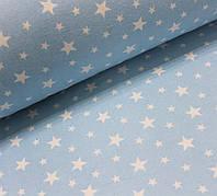 Фланелевая ткань (ТУРЦИЯ шир. 2,4) Белый звездопад на голубом, фото 1