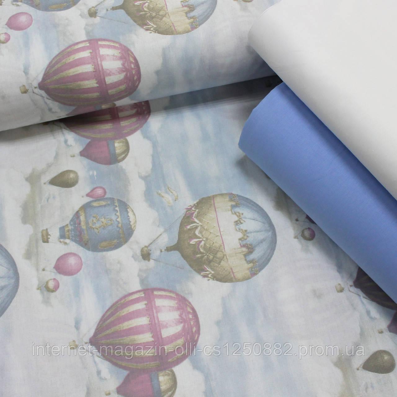 Хлопковая ткань (ТУРЦИЯ шир. 2,4 м) воздушные шары на светло-голубом
