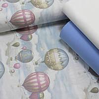 Хлопковая ткань (ТУРЦИЯ шир. 2,4 м) воздушные шары на светло-голубом, фото 1