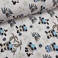 Фланелевая ткань (ТУРЦИЯ шир. 2,4) Панды в лазурных шляпках на белом, фото 1