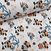Фланелевая ткань (ТУРЦИЯ шир. 2,4) Панды в оранжевых шляпках на белом, фото 1