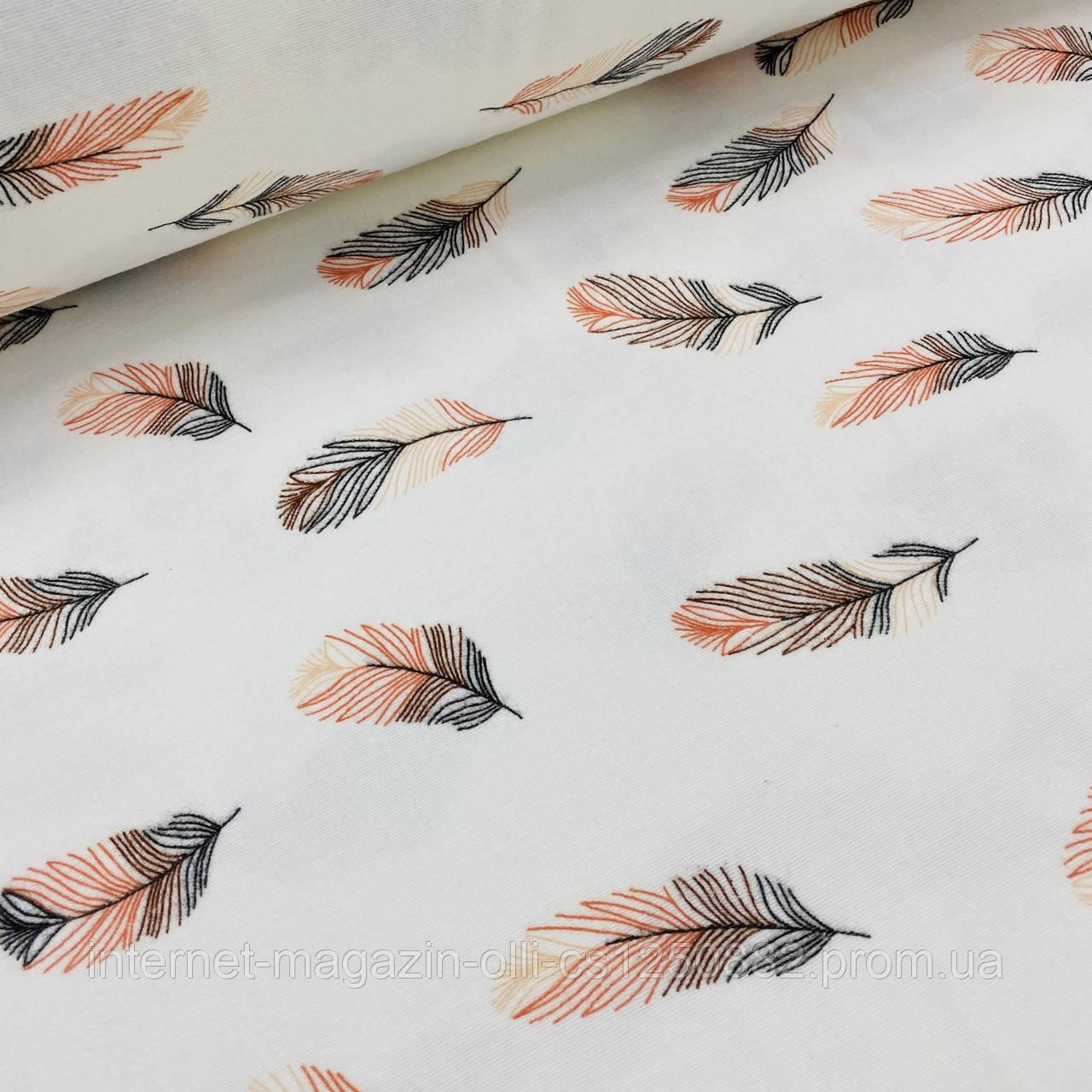 Фланелевая ткань перья розово-черные на белом (шир. 2,4 м)