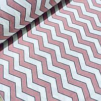 Фланелевая ткань зигзаг розовый на белом (шир. 2,4 м), фото 1