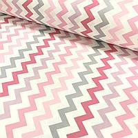 Ткань поплин зигзаг крупный серо-розовый на белом (ТУРЦИЯ шир. 2,4 м), фото 1