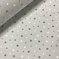 Фланелевая ткань звезды темно-серые и белые на сером (шир. 2,4 м), фото 1