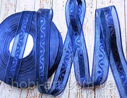 Стрічка органза 20 мм з орнаментом  № 03 темно-синя