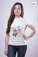Модная женская летняя футболка белая трикотажная 42-50