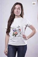 Модна жіноча літнє біла футболка трикотажна 42-50