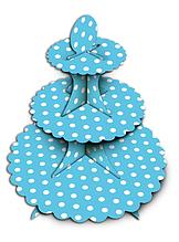 Подставка для кексов. 3-х ярусная голубая