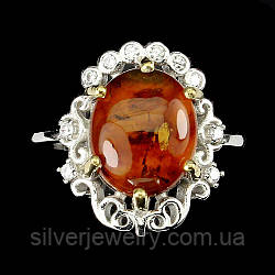 Серебряное кольцо с ЯНТАРЕМ (натуральный!), серебро 925 пр.Размер 17,25