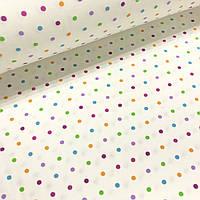 Фланелевая ткань разноцветный горошек на белом (шир. 2,4 м)