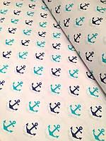 Хлопковая ткань польская якоря сине-бирюзовые № 201d, фото 1