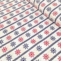 Хлопковая ткань польская штурвалы сине-красные № 218d, фото 1