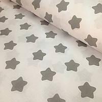 Хлопковая ткань польская звезды крупные (пряники) серые на белом № 340