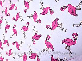 Хлопковая ткань польская фламинго розовый на белом