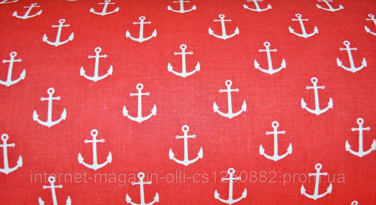 Хлопковая ткань польская белые якоря на красном