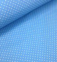 Хлопковая ткань польская белый горох на голубом 4 мм