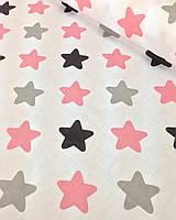 Хлопковая ткань звезды крупные (пряники) персиково-серые