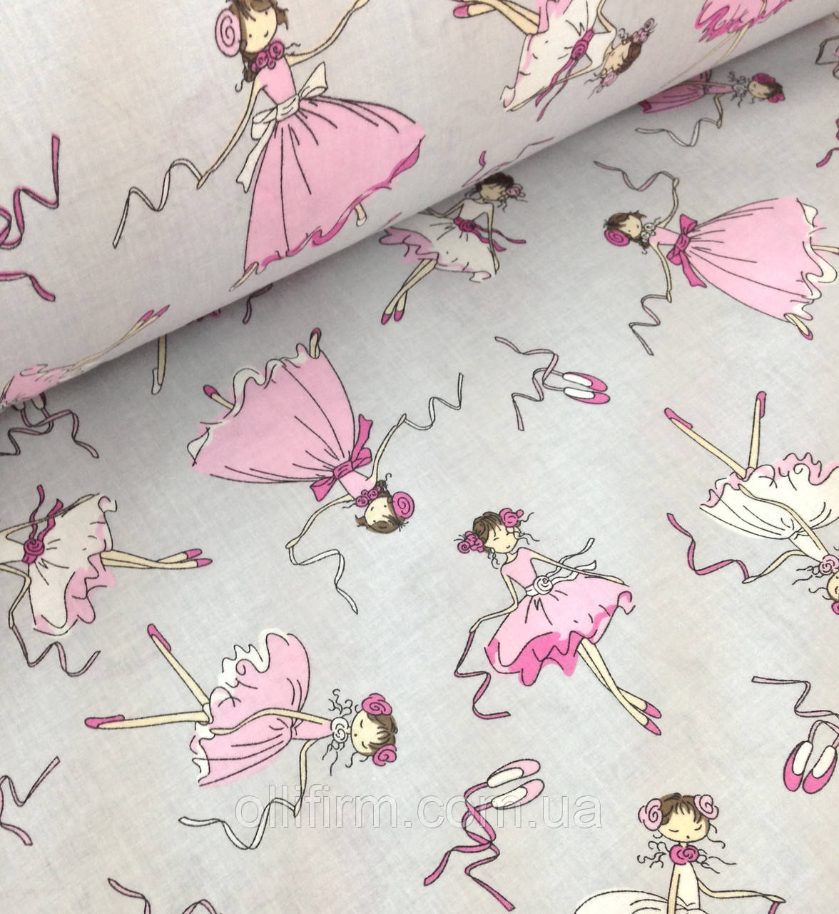 Хлопковая ткань польская балерины на сером