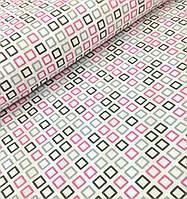 Хлопковая ткань польская квадратики розово-серые