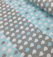 Хлопковая ткань капельки на серо-голубом