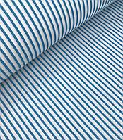 Хлопковая ткань польская полоска бирюзовая 5 мм