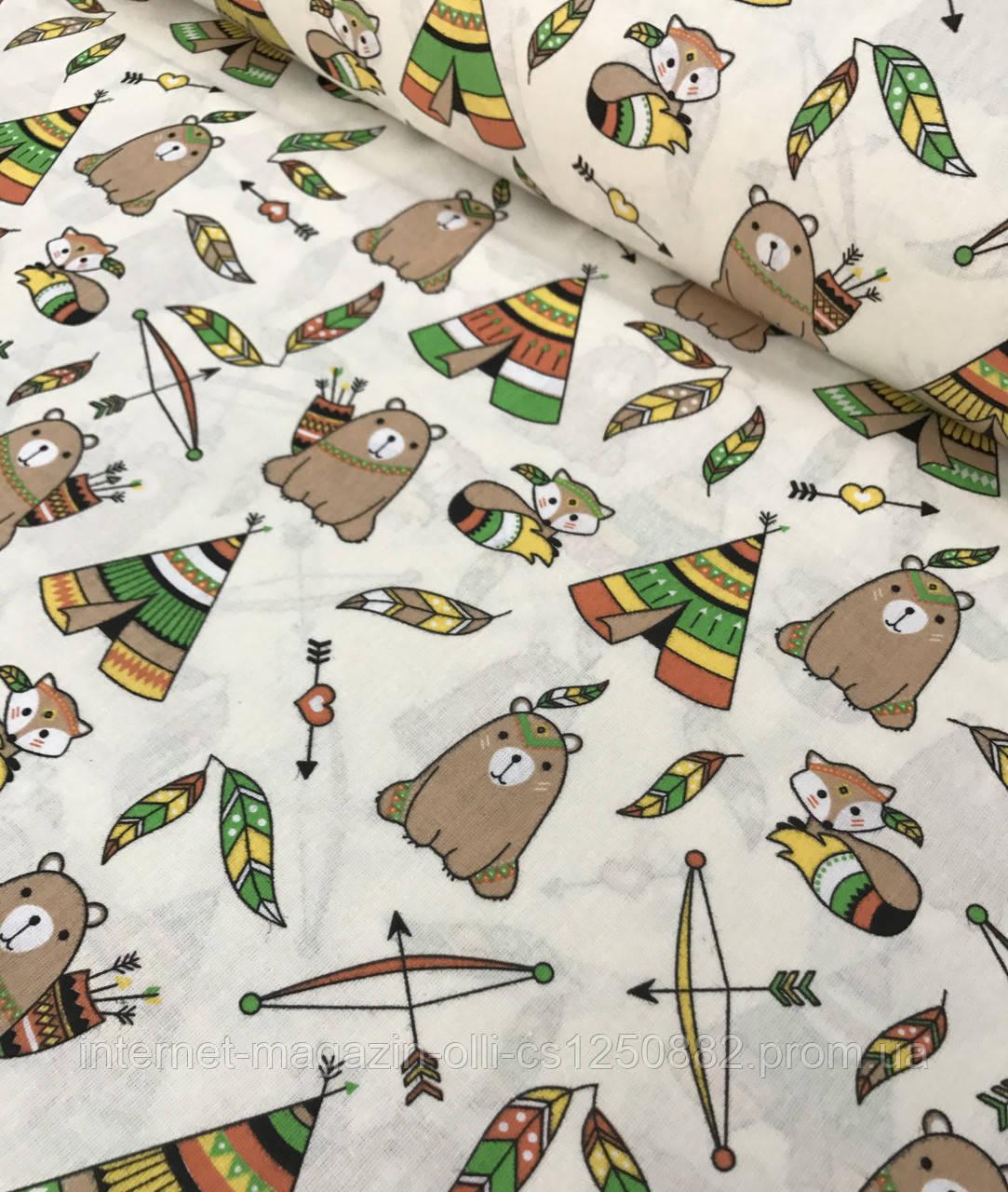 Хлопковая ткань польская типи с мишками бежево-зеленые на молочном №597