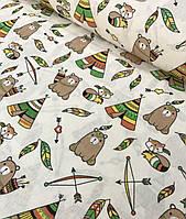 Хлопковая ткань польская типи с мишками бежево-зеленые на молочном №597, фото 1