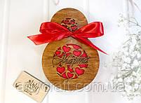 "Деревянная Подарочная коробка ""8 марта"" с бантом 19,6х13,4х6 см, фото 2"