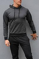 Мужская спортивная кофта с капюшоном - антрацит