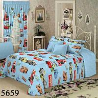 Комплект детского постельного белья отличного качества, полуторка, машинки на голубом