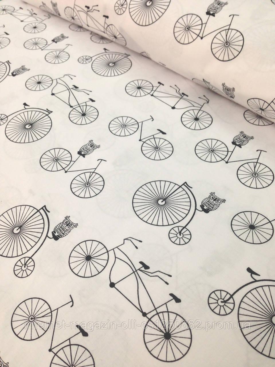 Хлопковая ткань польская велосипеды на белом