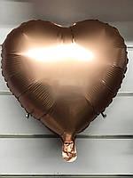 """Сердце фольгированное металлик 18""""/45см.-надув воздухом- Розовое Золото (Сатин), Розовое Золото (Сатин)"""