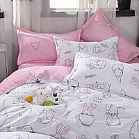 КОМПЛЕКТ ПОСТЕЛЬНОГО БЕЛЬЯ. Цвет белый, розовый с кроликами. размер - ПОЛУТОРКА, 1,5-ка