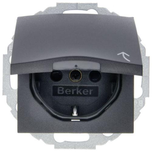 Berker S.1/B.3/B.7 - Розетка 2к+з SCHUKO с крышкой и защитой контактов, антрацит
