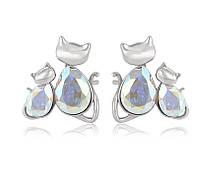 Серьги с кристаллами swarovski сваровски ювелирная бижутерия хупинг xuping женские пусеты кошки