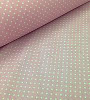 Хлопковая ткань бязь (ШИР. 2,2М) белый горох на розовом 4 мм