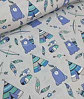 Хлопковая ткань польская типи с мишками бирюзово-голубые на сером №596