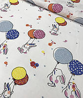 Хлопковая ткань польская зайчики с разноцветными шариками на белом №585, фото 1