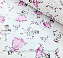 Фланель детская балерины на белом №479
