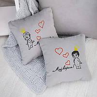 Набор сувенирных подушек вышивкой «Король и Королева» (28*28)  в расцветках, фото 1