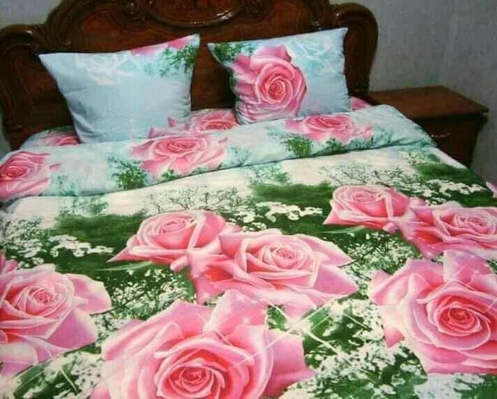 КОМПЛЕКТ ПОСТЕЛЬНОГО БЕЛЬЯ. Розы 3D. Цвет розовый, бирюзовый. размер - ПОЛУТОРКА, 1,5-ка